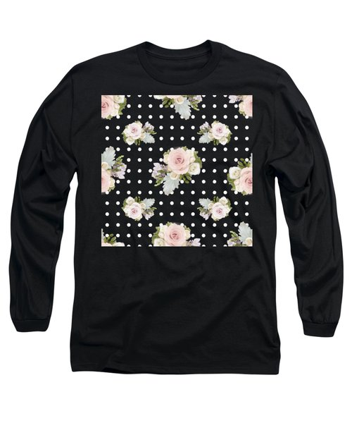 Long Sleeve T-Shirt featuring the painting Floral Rose Cluster W Dot Bedding Home Decor Art by Audrey Jeanne Roberts