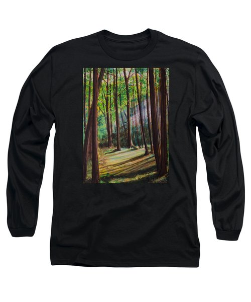 Long Sleeve T-Shirt featuring the painting Forest Light by Ron Richard Baviello