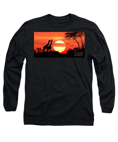 Giraffes At Sunset Long Sleeve T-Shirt