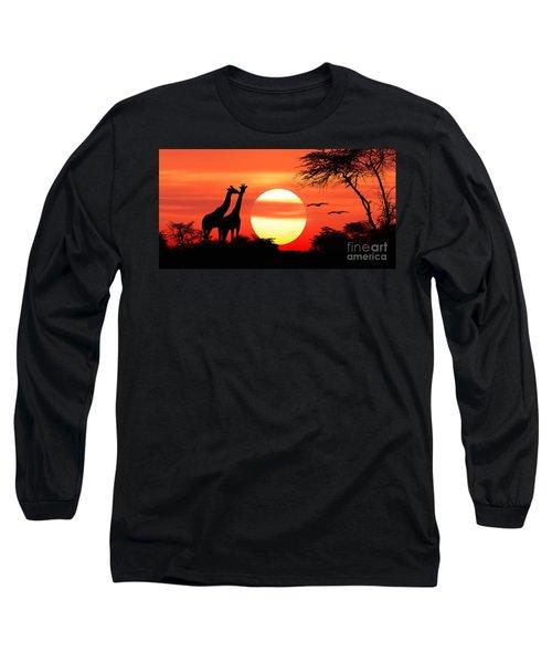 Giraffes At Sunset Long Sleeve T-Shirt