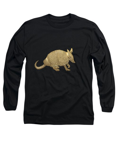 Gold Armadillo On Black Canvas Long Sleeve T-Shirt by Serge Averbukh