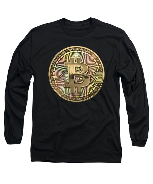 Gold Bitcoin Effigy Over Black Canvas Long Sleeve T-Shirt