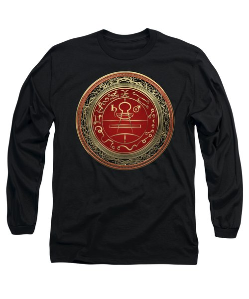 Gold Seal Of Solomon - Lesser Key Of Solomon On Black Velvet  Long Sleeve T-Shirt