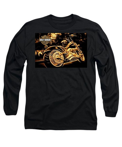 Long Sleeve T-Shirt featuring the mixed media Harley-davidson by Aaron Berg