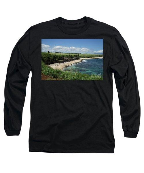 Ho'okipa Beach View From Ho'okipa Beach Park Hana Maui Long Sleeve T-Shirt by Peter Dang