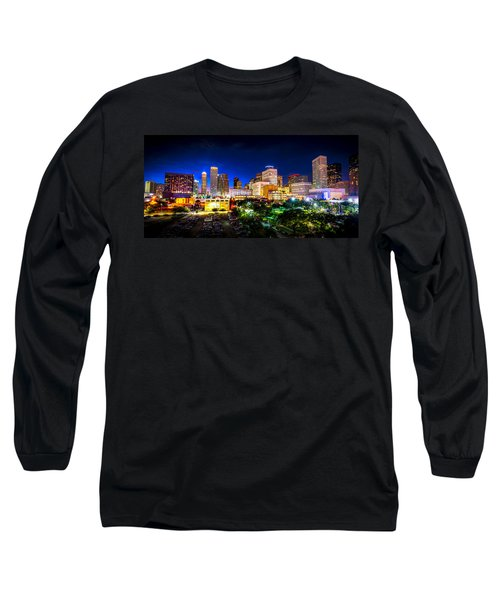Long Sleeve T-Shirt featuring the photograph Houston City Lights by David Morefield