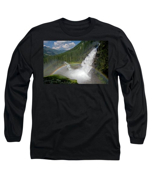 Krimml Waterfall And Rainbow Long Sleeve T-Shirt