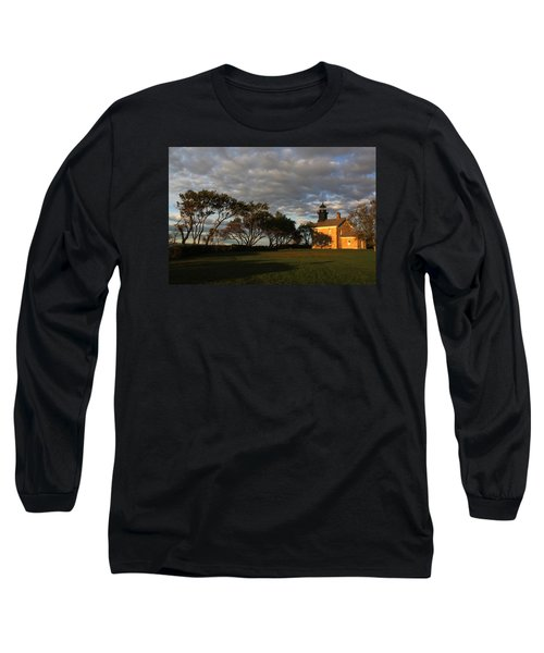 Lighthouse Old Field Point New York Long Sleeve T-Shirt by Bob Savage