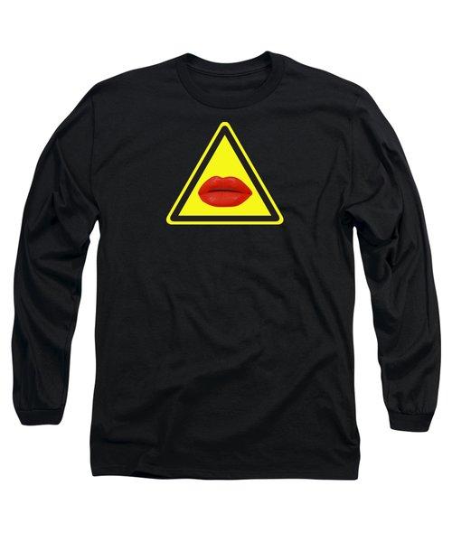 Lips Hazard Long Sleeve T-Shirt by Stan  Magnan