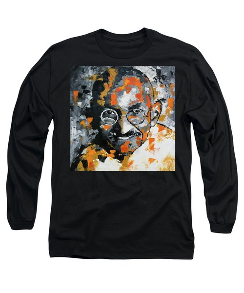 Long Sleeve T-Shirt featuring the painting Mahatma Gandhi by Richard Day