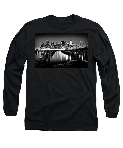 Long Sleeve T-Shirt featuring the photograph Manhattan Skyline At Night by Az Jackson