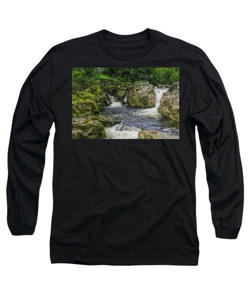 Mountain Waterfall Long Sleeve T-Shirt by Ian Mitchell