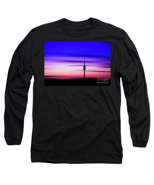 Long Sleeve T-Shirt featuring the photograph Munich - Olympiaturm At Sunset by Hannes Cmarits
