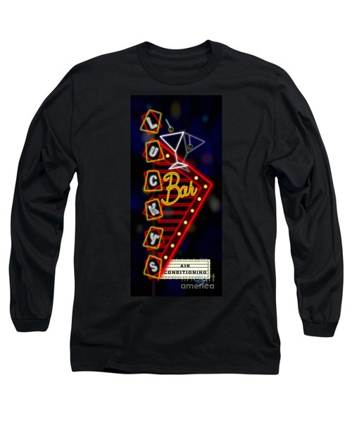 Nightclub Sign Luckys Bar Long Sleeve T-Shirt