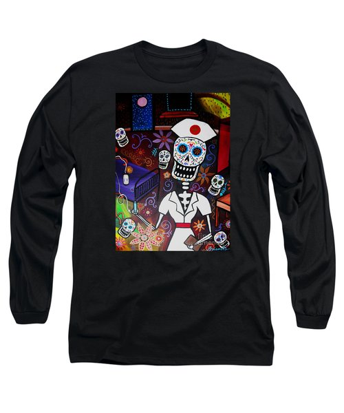 Long Sleeve T-Shirt featuring the painting Nurse Dia De Los Muertos  by Pristine Cartera Turkus