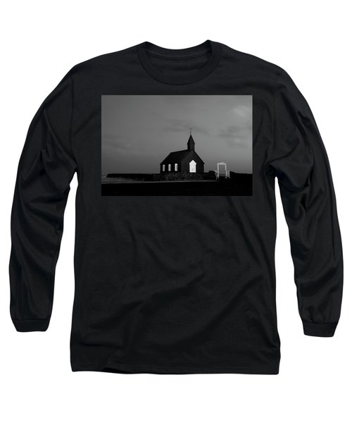 Old Countryside Church In Iceland Long Sleeve T-Shirt