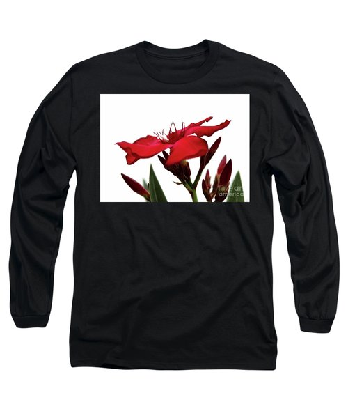 Long Sleeve T-Shirt featuring the photograph Oleander Blood-red Velvet 3 by Wilhelm Hufnagl