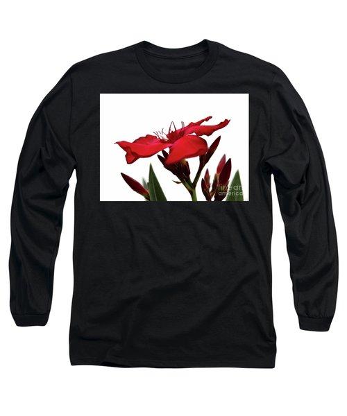 Oleander Blood-red Velvet 3 Long Sleeve T-Shirt by Wilhelm Hufnagl
