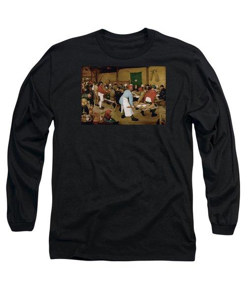 Peasant Wedding Long Sleeve T-Shirt by Pieter Bruegel the Elder