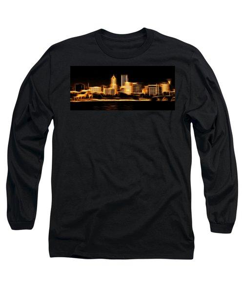 Long Sleeve T-Shirt featuring the photograph Portland Oregon Skyline  by Aaron Berg