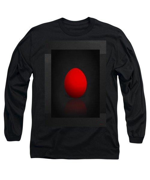 Red Egg On Black Canvas  Long Sleeve T-Shirt
