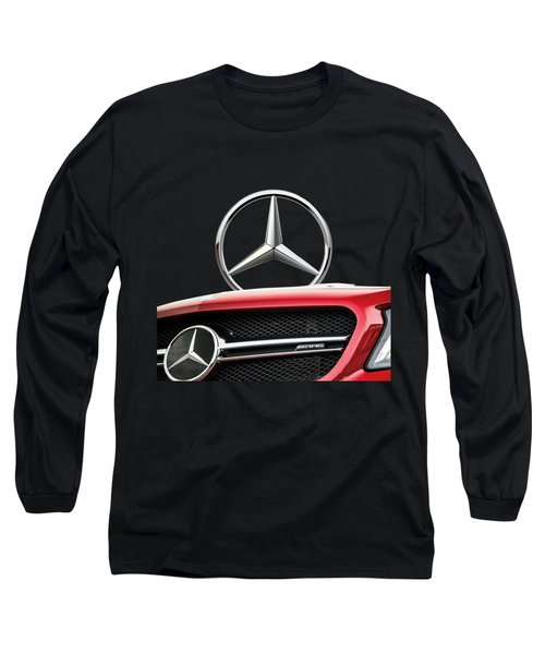 Red Mercedes - Front Grill Ornament And 3 D Badge On Black Long Sleeve T-Shirt