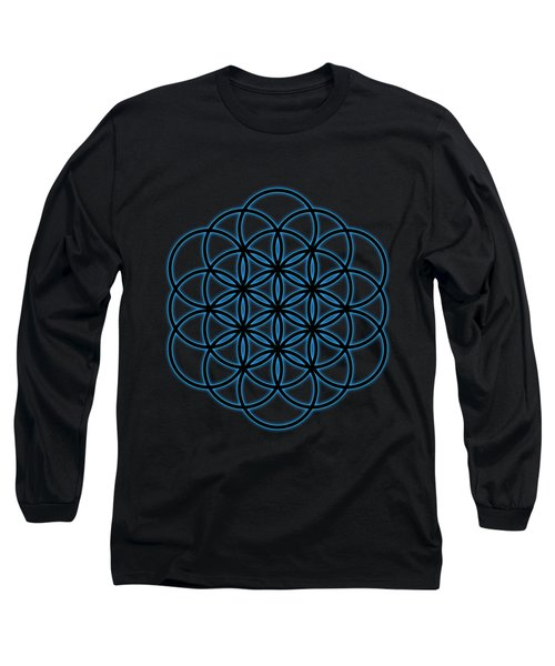 Sacred Geometry - Black Flower Of Life - Seed Of Life With Blue Halo Over Black Canvas Long Sleeve T-Shirt