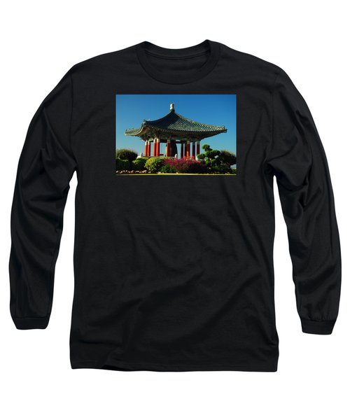 Long Sleeve T-Shirt featuring the photograph San Pedro Korean Peace Bell by James Kirkikis