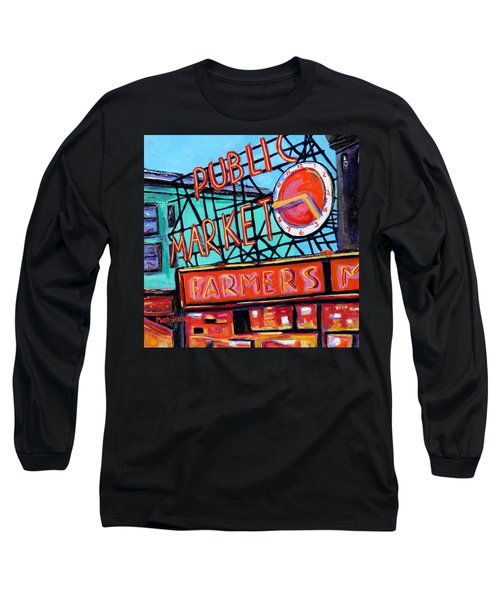 Seattle Public Market Long Sleeve T-Shirt by Marti Green