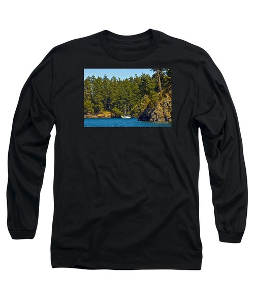 Secluded Anchorage Long Sleeve T-Shirt by Chuck Flewelling