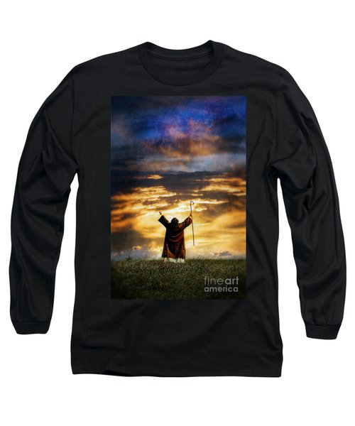 Shepherd Arms Up In Praise Long Sleeve T-Shirt by Jill Battaglia