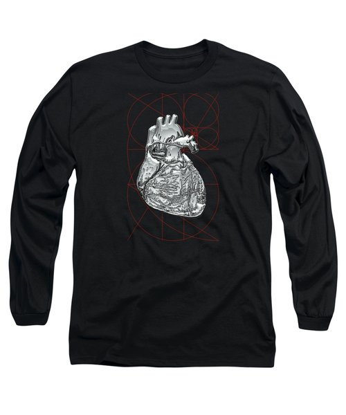 Silver Human Heart On Black Canvas Long Sleeve T-Shirt by Serge Averbukh