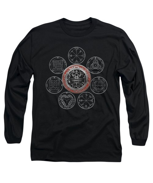 Silver Seal Of Solomon Over Seven Pentacles Of Saturn On Black Canvas  Long Sleeve T-Shirt