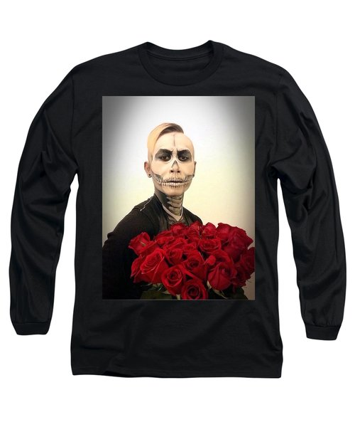 Skull Tux And Roses Long Sleeve T-Shirt by Kent Chua