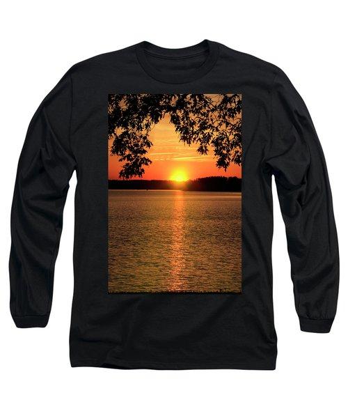 Smith Mountain Lake Silhouette Sunset Long Sleeve T-Shirt