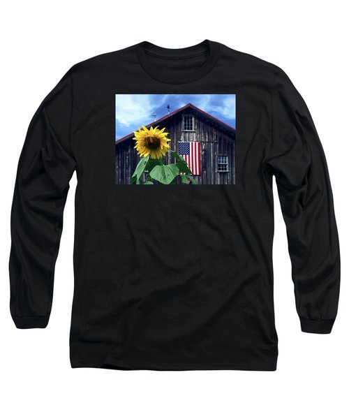 Sunflower By Barn Long Sleeve T-Shirt by Sally Weigand