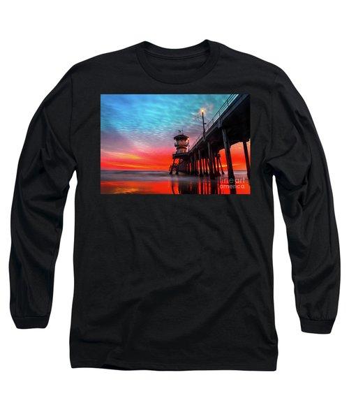 Sunset At Huntington Beach Pier Long Sleeve T-Shirt