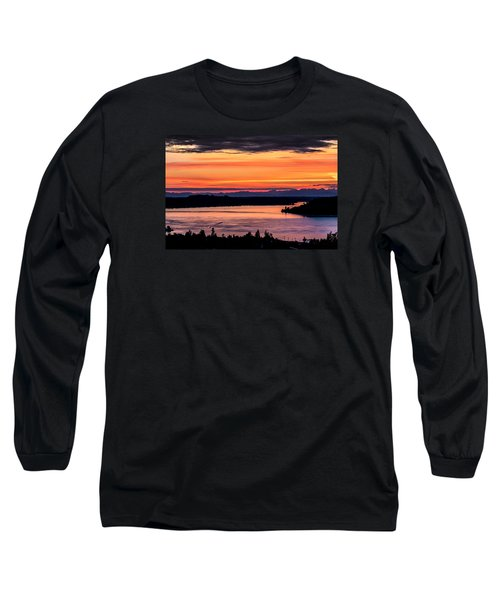 Sunset Over Hail Passage On The Puget Sound Long Sleeve T-Shirt by Rob Green