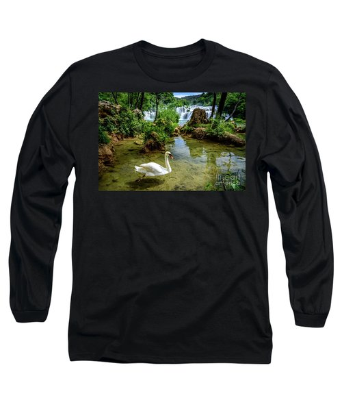 Swan In The Waterfalls Of Skradinski Buk At Krka National Park In Croatia Long Sleeve T-Shirt