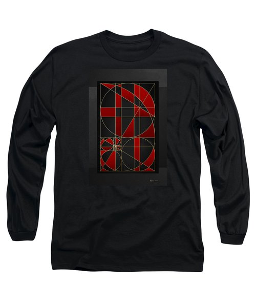 The Alchemy - Divine Proportions - Red On Black Long Sleeve T-Shirt by Serge Averbukh
