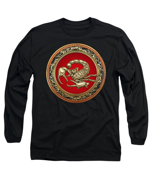 Treasure Trove - Sacred Golden Scorpion On Black Long Sleeve T-Shirt