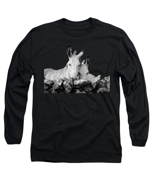 Two White Irish Donkeys Long Sleeve T-Shirt by RicardMN Photography