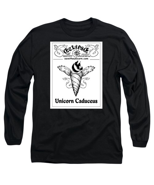 Long Sleeve T-Shirt featuring the drawing Real Fake News Eclipse Unicorn Caduceus by Dawn Sperry