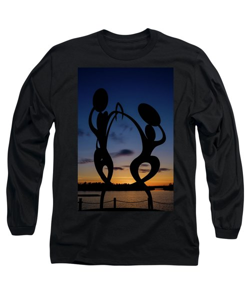United In Celebration Sculpture At Sunset 5 Long Sleeve T-Shirt by John McArthur