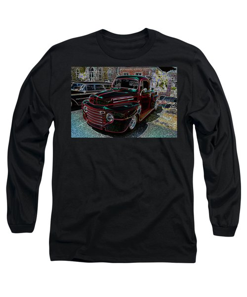 Vintage Chevy Truck Neon Art Long Sleeve T-Shirt