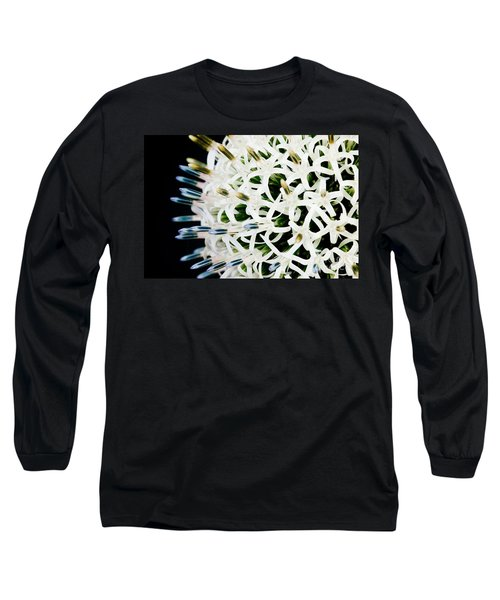 White Alium Onion Flower Long Sleeve T-Shirt by Colin Rayner