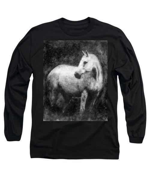 White Horse Portrait Long Sleeve T-Shirt