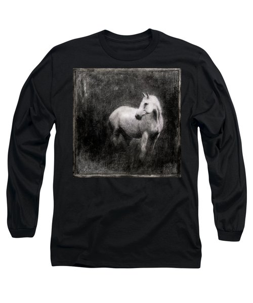 White Horse Long Sleeve T-Shirt by Roseanne Jones