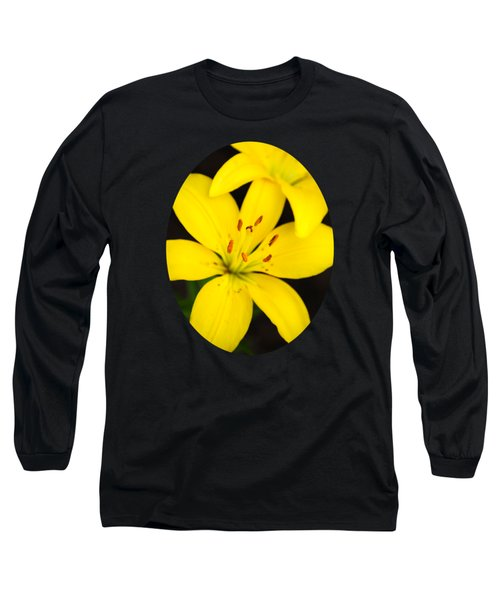 Yellow Lily Flower Long Sleeve T-Shirt by Christina Rollo