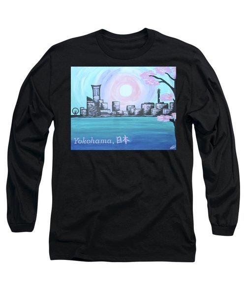 Yokohama Skyline Long Sleeve T-Shirt by Cyrionna The Cyerial Artist